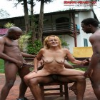 Horny mature Antonia gets banged by 3 black dudes