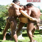 Three black dudes having fun with one horny mature slut