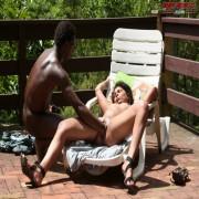 Horny black guy fisting a mature slut