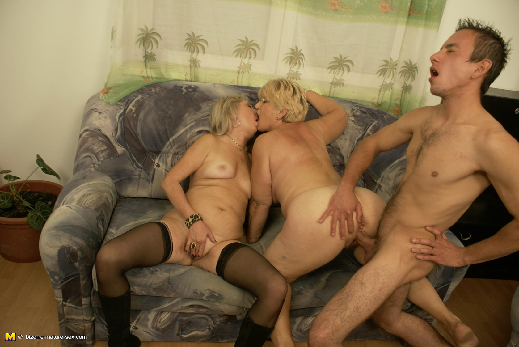 Mature And Two Cocks
