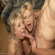 Two mature sluts sharing one hard cock