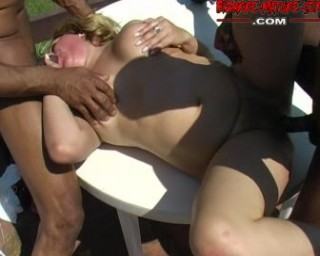 Horny mature blonde loves a good gangbang