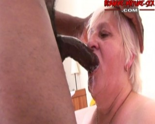 Horny granny licking ass, sucking cock and getting fucked by a black man