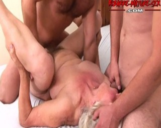 Granny loves to get fucked by two dudes