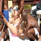 Mature blonde in hot gangbang action