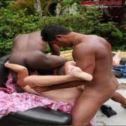 This is one hot interracial mature gang bang