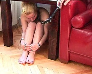 Mature couple playing with a kinky teen slave